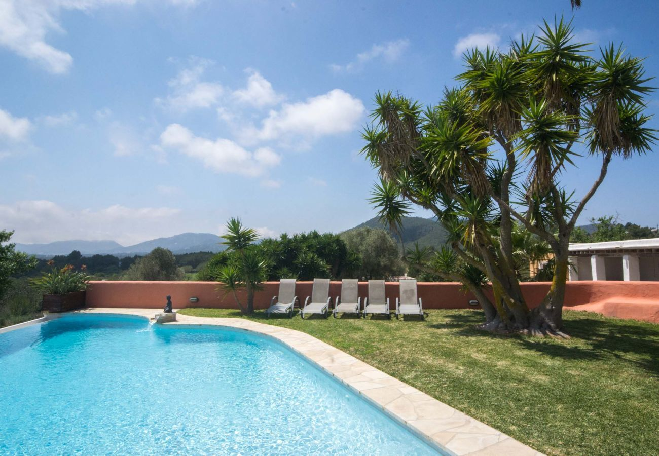 Views of pool and garden at Villa Can Verdera in Sant Josep de Sa Talaia in Ibiza