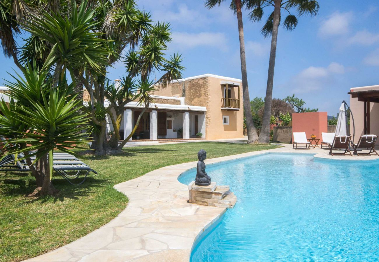 Swimming pool and garden area at Villa Can Verdera in Ibiza