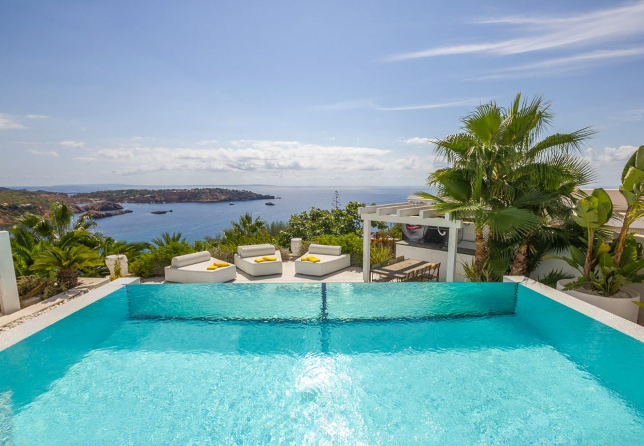 Views from the spectacular swimming pool of the villa Bora in Ibiza